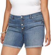 JLO by Jennifer Lopez Plus Size Jennifer Cuffed Boyfriend Shorts