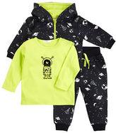Petit Lem Baby Boys Space Boy Three-Piece Top, Pants and Zip Hoodie Set