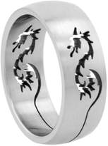 Sabrina Silver Surgical Steel Dragon Ring Domed 8mm Wedding Band Cut-out design, size 11