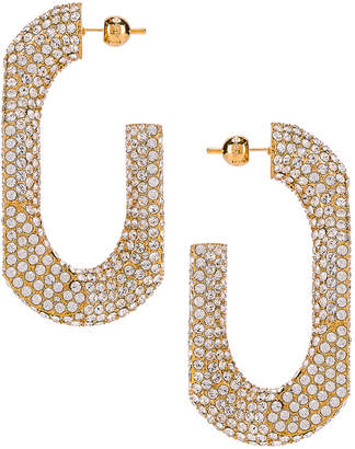 Burberry Large Chain Link Earrings in Light Gold & Crystal | FWRD
