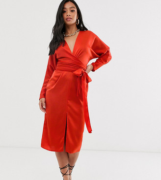 Asos DESIGN Petite midi dress with batwing sleeve and wrap waist in satin-Red