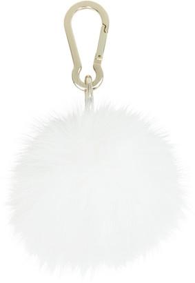 Yves Salomon White Fur Pom Pom Keychain