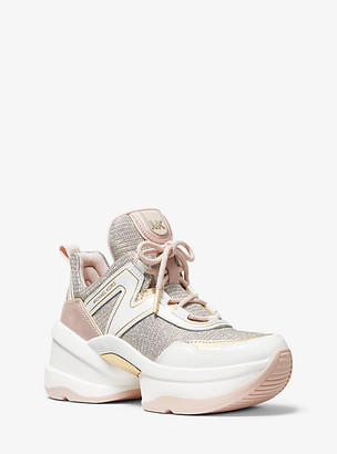 Michael Kors Olympia Glitter Chain-Mesh and Leather Trainer
