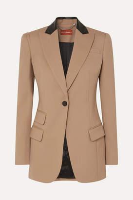 Altuzarra Leather-trimmed Stretch-wool Blazer - Beige