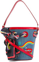 Olympia Le-Tan smoking lip embroidered bucket tote - women - Cotton/Calf Leather/glass/Silk - One Size