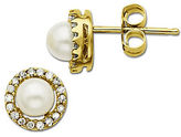 Lord & Taylor Freshwater Pearl Earrings with Diamond Accent in 14 Kt. Yellow Gold 6MM