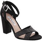 Nina Shelly Metallic Ankle Strap Stone Embellished Block Heel Dress Sandals