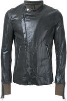 Miharayasuhiro coated zipped jersey jacket