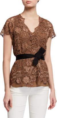 Brunello Cucinelli Floral Embroidered Belted Silk-Blend Top