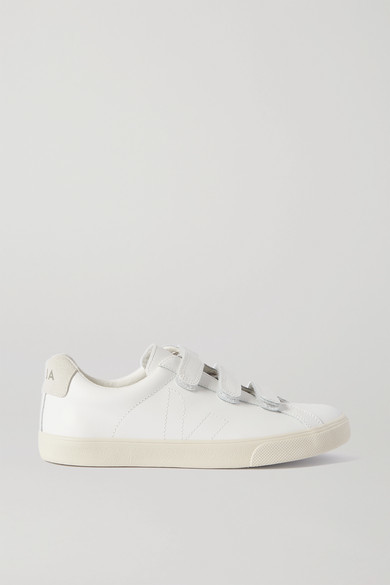 Veja 3-lock Logo Suede-trimmed Leather Sneakers - White