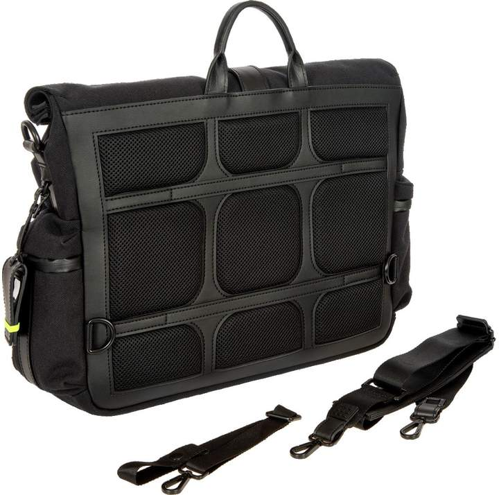 Bric's Black Nylon and Leather Roll-Top Messenger