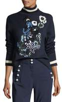 Veronica Beard Pia Floral-Embroidered Turtleneck Sweater