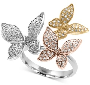 Effy Trio by Diamond Pave Butterfly Ring (5/8 ct. t.w.) in 14K Yellow, White and Rose Gold