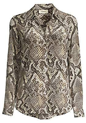L'Agence Women's Nina Python-Print Silk Long-Sleeve Shirt