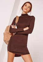 Missguided Curve Hem Turtle Neck Bodycon Dress Brown