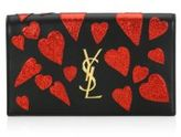 Saint Laurent Kate Monogram Heart Leather Clutch