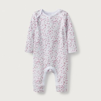 The White Company Rose Floral Sleepsuit, Pink, 12-18mths
