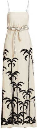 Johanna Ortiz Palm Tree Linen Maxi Dress