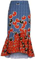Stella Jean Fluted Printed Cotton-Twill Midi Skirt