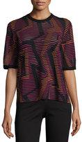 M Missoni Short-Sleeve Geometric-Knit Top, Fuchsia