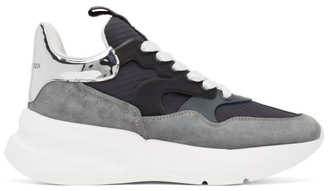 Alexander McQueen Grey and Navy Rib Suede Sneakers