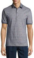 Etro Mixed-Dot Mélange Polo Shirt, Gray