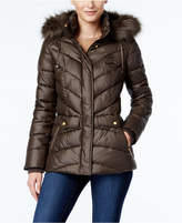 Jones New York Faux-Fur-Trim Hooded Puffer Coat