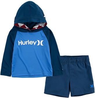 Hurley Baby Boy Dri-FIT UPF 50+ Hooded Rash Guard Shark Bite Top & Board Shorts 2-Piece Set