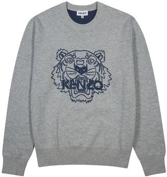 Kenzo Grey tiger-intarsia wool-blend jumper