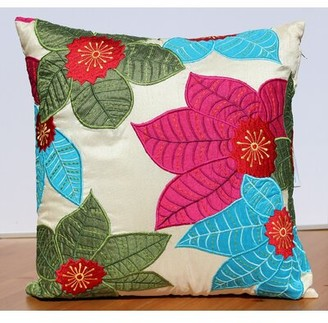 Auburn Textile Leaf Embroidery Accent Throw Pillow