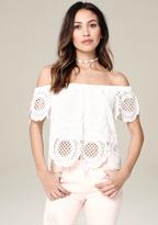 Bebe Eliza Crochet Lace Top