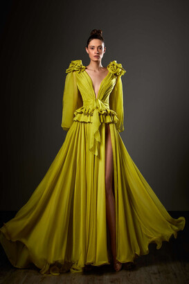 Ziad Germanos Long Slit Sleeve Peplum Gown