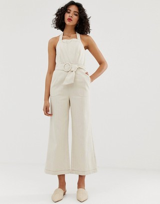 Moon River belted jumpsuit-Cream