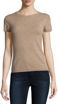 Neiman Marcus Cashmere Short-Sleeve Pullover Top, Tan