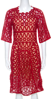 Chloé Lacquer Red Corded Lace Contrast Silk Lined Sheath Dress S