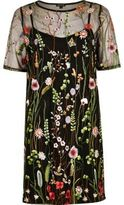 River Island Womens Black floral embroidered T-shirt dress