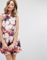 Wal G Rose Print Skater Dress