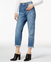 GUESS Logo Patch Straight-Leg Jeans