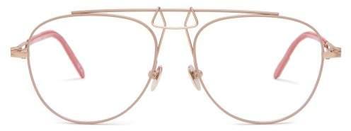 Calvin Klein Square Aviator Frame Metal Glasses - Mens - Gold
