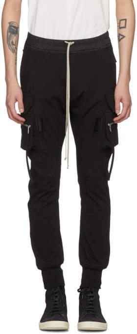 Rick Owens Black Cotton Jog Cargo Pants