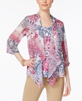 JM Collection Petite Printed Layered-Look Top, Created for Macy's