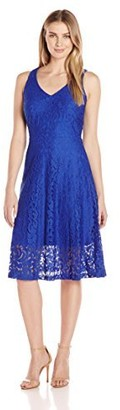 Ronni Nicole Women's Sleevless V-Neck Illusion Lace Midi