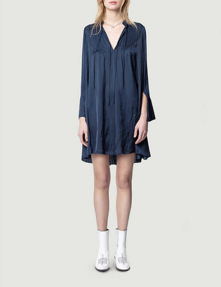 Zadig & Voltaire Raika flared-sleeve satin-crepe mini dress