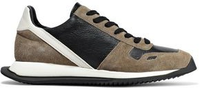 Rick Owens Runner Color-block Leather And Suede Sneakers