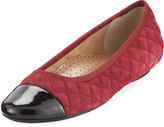 Neiman Marcus Saucy Quilted Suede Flat, Opera Red