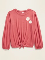 Old Navy Graphic Plush-Knit Tie-Hem Top for Girls