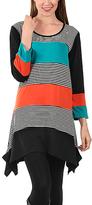 Aster Black & Orange Stripe Sidetail Tunic - Plus Too