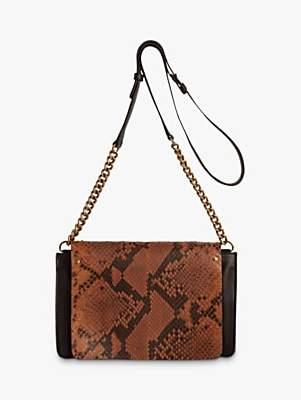Gerard Darel Box Snake Pattern Leather Medium Shoulder Bag, Camel