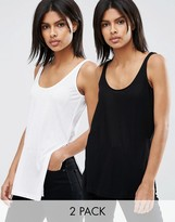Asos The Scoop Neck Tank In Slouchy Rib With side Splits 2 Pack