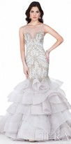 Terani Couture Ruffle Tiered Mermaid Embellished Evening Gown